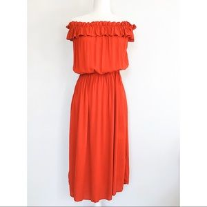 Who What Wear Orange/Red Off Shoulder Midi Dress